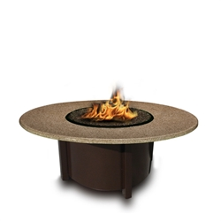 "Carmel Chat Height Fire Pit 48"" Round Carmel Fire Pit Table-Chat Height w/ Arctic Flame Glass"