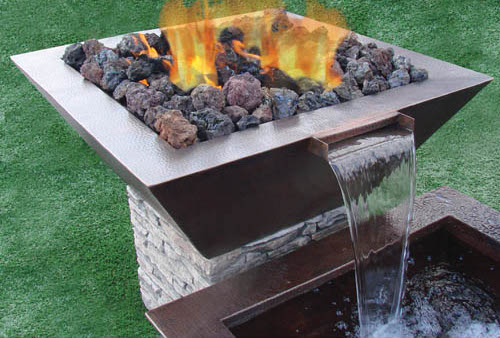 Sedona Square Hammered Copper Fire & Water Bowl copper fire bowl, fire bowl, hpc, discount hearth, fire bowls, copper fire bowls