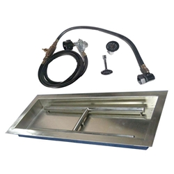 Drop-In H Burner Pan Kit burner trough, stainless steel burner trough, fire pit burner accessories, fire pit burners.