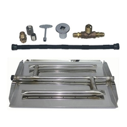 Stainless Steel Triple Burner Pan Kit for LP firepit, fire pit, burner ring, burner pan, H burner, flame ring, gas burner, burner kit, fire pit kit, firepit kit, stainless steel burner, stainless steel ring