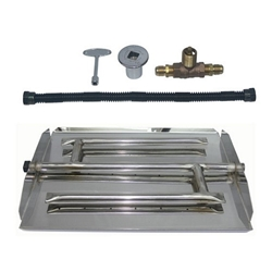 Stainless Steel Triple Burner Pan Kit for NG firepit, fire pit, burner ring, burner pan, H burner, flame ring, gas burner, burner kit, fire pit kit, firepit kit, stainless steel burner, stainless steel ring