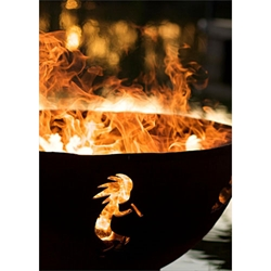 Kokopelli- Hopi Indian God kokopelli outdoor fire pit, kokopelli fire pit, outdoor gas fire pit, outdoor firepit, outdoor gas firepit.