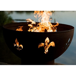 Fleur-de-lis outdoor fire pit, outdoor gas fire pit, outdoor firepit, outdoor gas firepit.