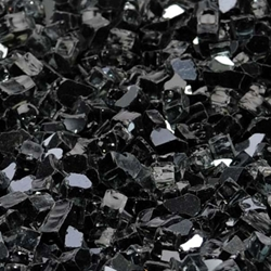 "1/4"" Onyx Black Reflective Fireglass Flame Glass, fire glass, fireplace glass, fire pit glass"