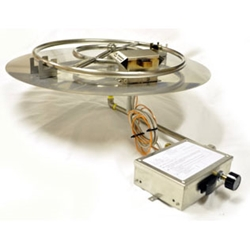 Spark Ignition Flat Round Pan spark ignitor burner pan, fire pit burner, fire pit burner accessories, fire pit burners.