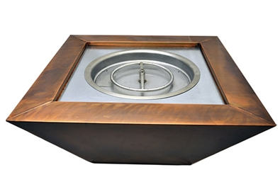 Sierra Square Smooth Copper Fire Bowl sierra square copper fire bowl, smooth, sierra, square copper fire bowl, fire bowl, fire bowls, square copper fire bowls, hpc, hpc electronic ignition packages