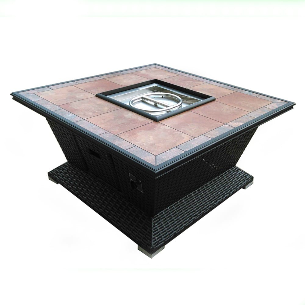 48 inch Square Wicker Fire Pit - DR-FP-SQWIC48