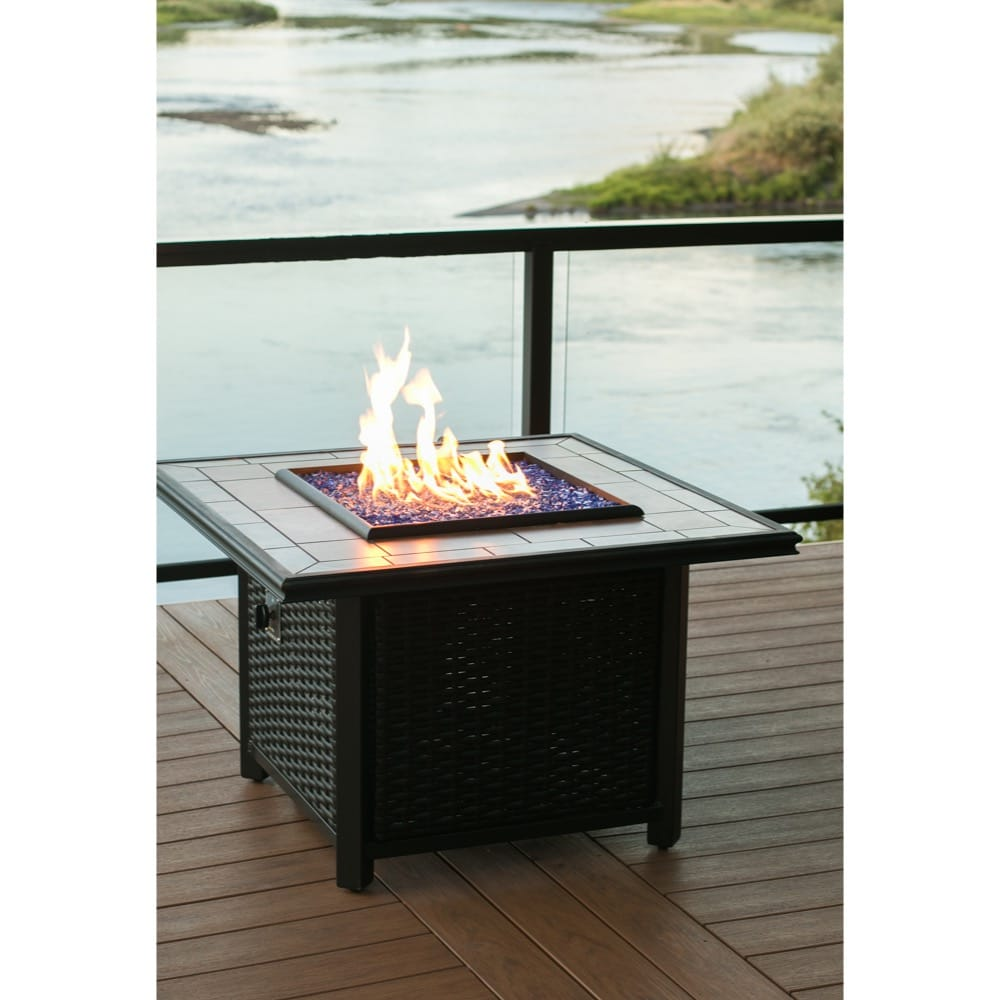 39 inch Square Wicker Fire Pit - DR-FP-SQWIC39