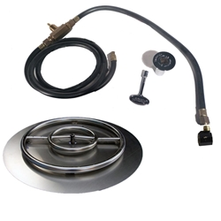 30 inch Stainless Steel Pan-Ring Kit LP for Fire Pit / Portable Tank Connection