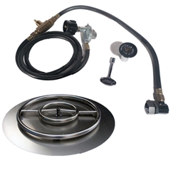 22 inch Stainless Steel Pan-Ring Kit LP for Fire Pit / Portable Tank Connection