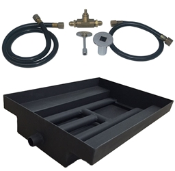 15 inch Powder Coated Burner Island Kit NG for Fire Pit / Portable Tank Connection