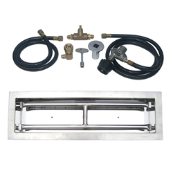 18 inch Stainless Steel Drop-In Rectangular Burner Kit LP for Fire Pit / Portable Tank Connection
