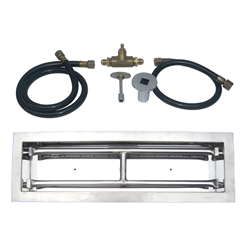 18 inch Stainless Steel Drop-In Rectangular Burner Kit NG for Fire Pit / Portable Tank Connection