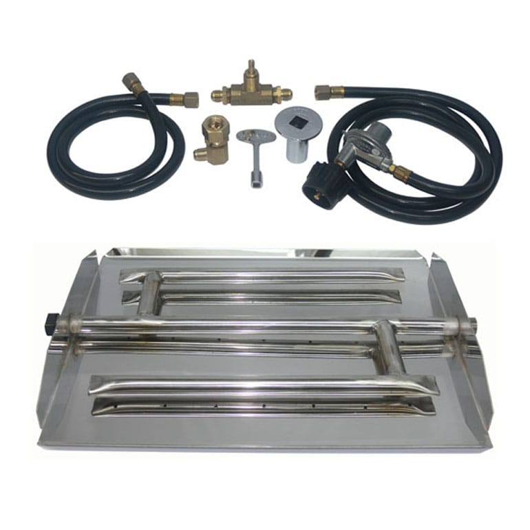 17 inch Stainless Steel Triple Xtra Flame Burner Kit LP for Fire Pit / Portable Tank Connection